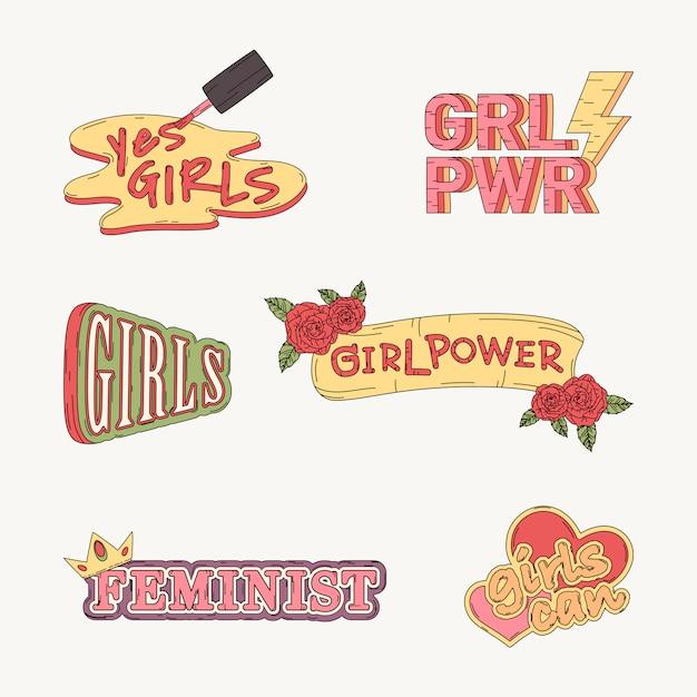 Collection de vecteurs de pouvoir de fille Vecteur gratuit