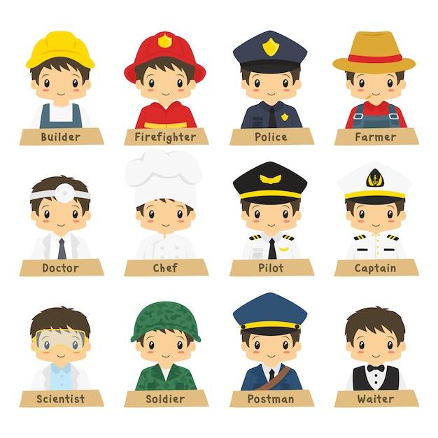 Collection de vecteurs de professions demi corps masculin Vecteur Premium