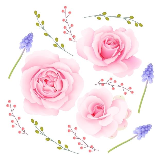 Collection de vecteurs de roses roses Vecteur Premium