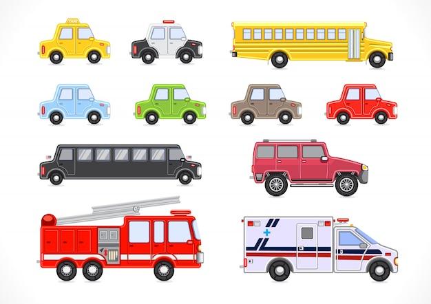 Collection de véhicules Vecteur Premium