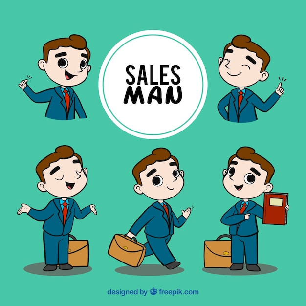 Collection de vendeur dans différentes situations Vecteur gratuit
