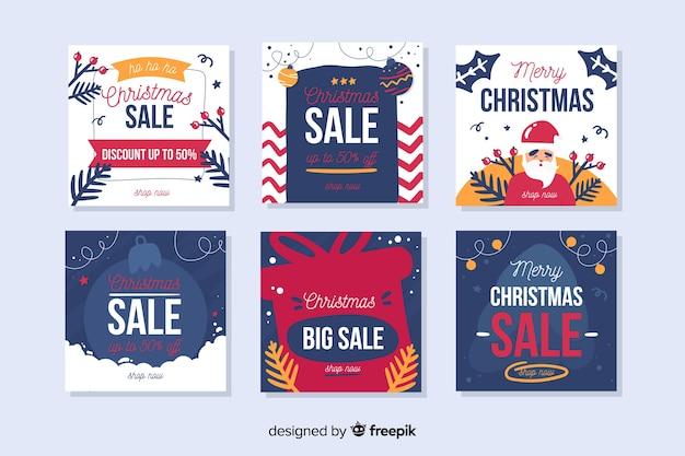Collection de vente de noël instagram post Vecteur gratuit