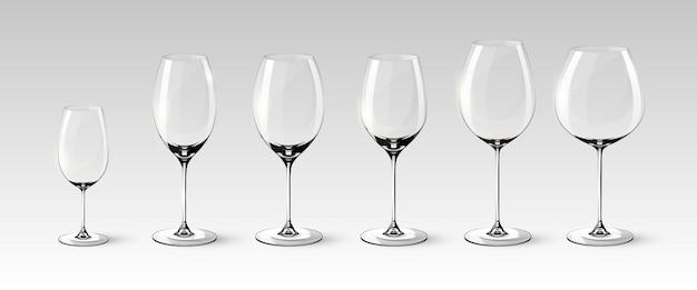 Collection De Verres à Vin Vides Vecteur gratuit