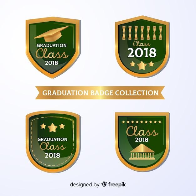 Collection verte de badges de graduation Vecteur gratuit