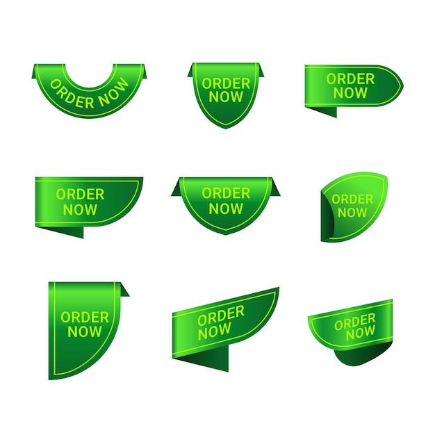 Collection Verte De L'étiquette De Commande Maintenant Vecteur Premium