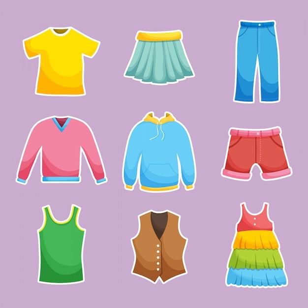 Collection De Vêtements Différents Vecteur Premium