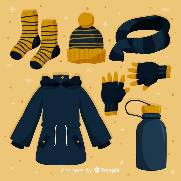 Collection de vêtements d'hiver et d'articles essentiels Vecteur gratuit