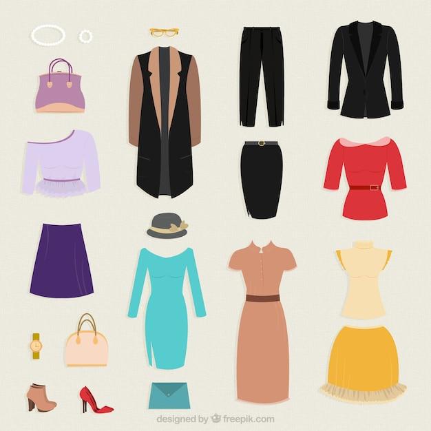 Collection de vêtements pour la femme Vecteur gratuit