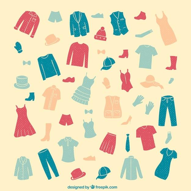 Collection de vêtements Vecteur gratuit