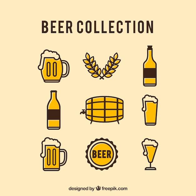 Collection vintage de bières Vecteur gratuit