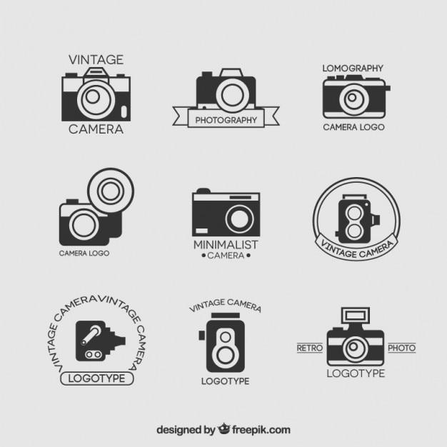 Collection vintage camera Vecteur Premium