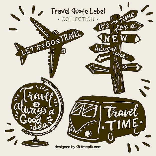 Collection vintage d'étiquettes de devis de voyage Vecteur gratuit