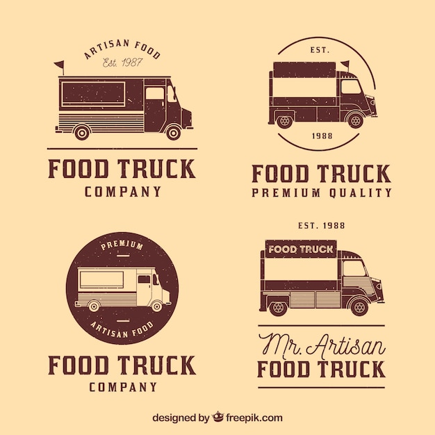 Collection Vintage De Logos De Camions Alimentaires Vecteur gratuit