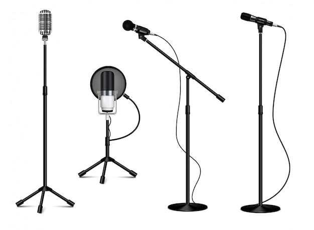 Collection Vintage De Microphones Professionnels Debout Avec Fil Sur Fond Blanc Dans Une Illustration Isolée De Style Réaliste Vecteur gratuit