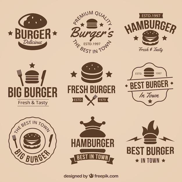 Collection Vintage De Superbes Logos De Hamburger Vecteur Premium