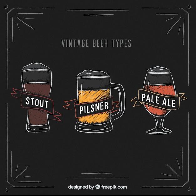 Collection vintage de types de bière Vecteur gratuit