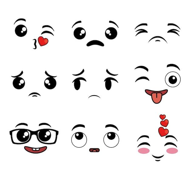 Collection De Visage De Dessin Animé Mignon Emoji Vecteur Premium