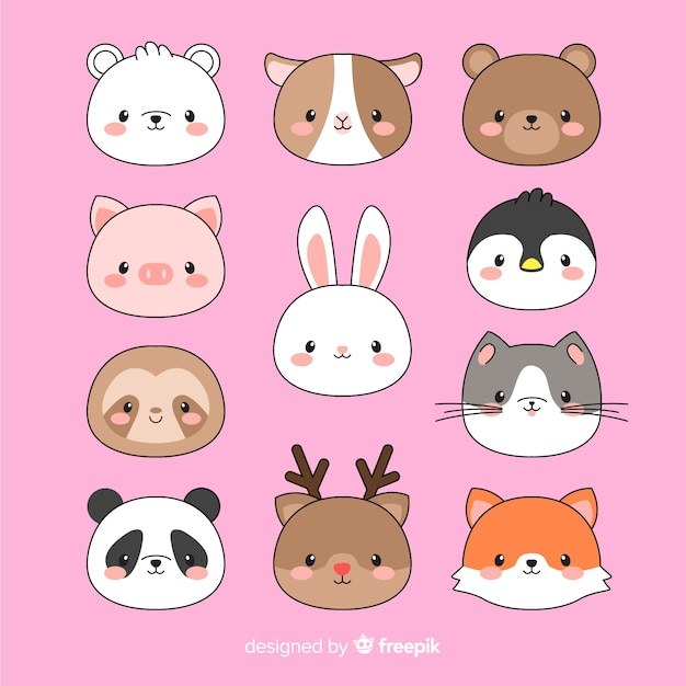 Collection de visages d'animaux kawaii dessinés à la main Vecteur gratuit