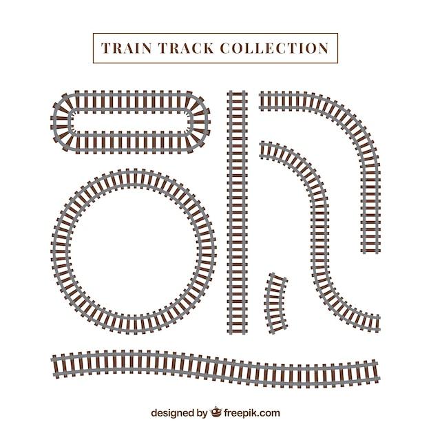 Collection De Voies Ferroviaires Vecteur Premium