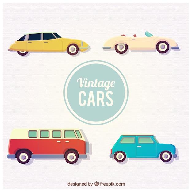 Collection de voitures anciennes Vecteur gratuit