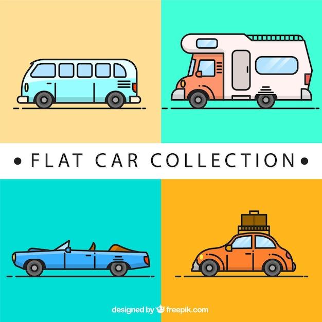 Collection de voitures et de caravanes design plat Vecteur gratuit