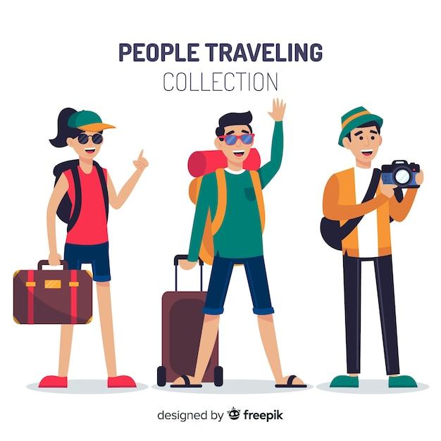 Collection De Voyageurs Vecteur Premium