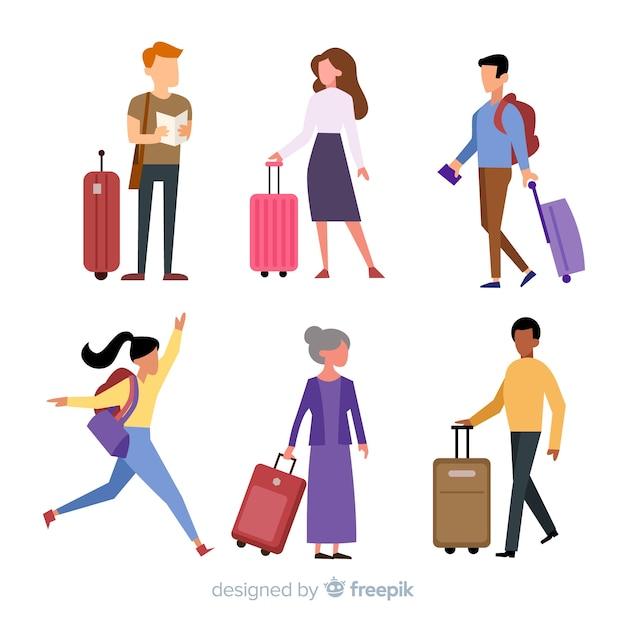 Collection de voyageurs Vecteur gratuit