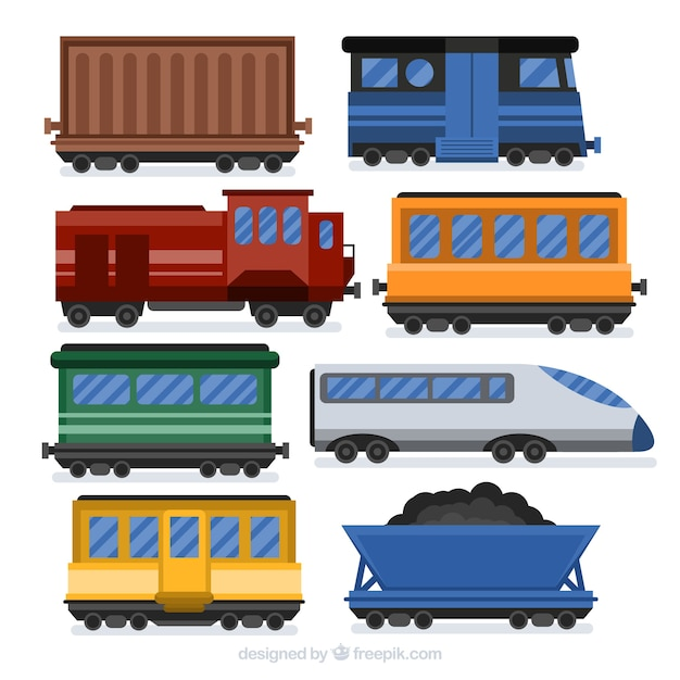 Collection de wagons de train en conception plate Vecteur gratuit