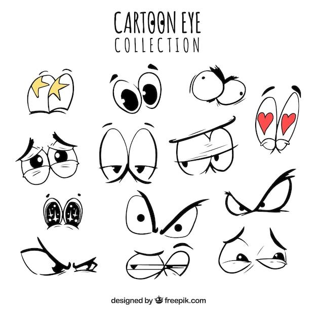 Collection des yeux de bande dessinée avec des expressions drôles Vecteur gratuit