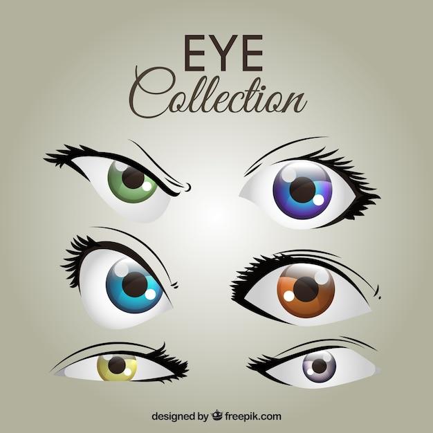 Collection des yeux féminins colorés Vecteur gratuit