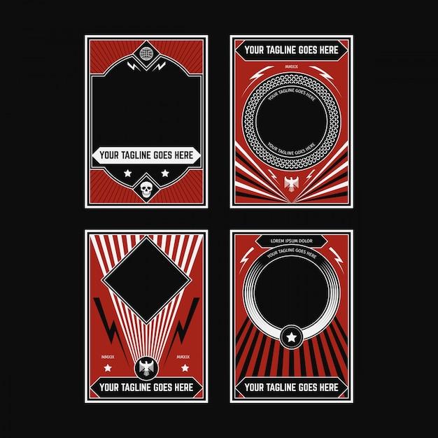 Collections d'affiches de propagande Vecteur Premium