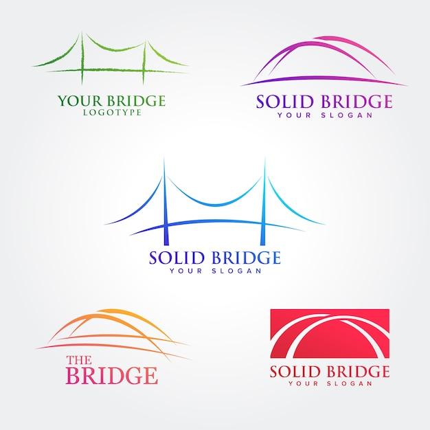Collections De Conception De Symboles De Pont Vecteur Premium