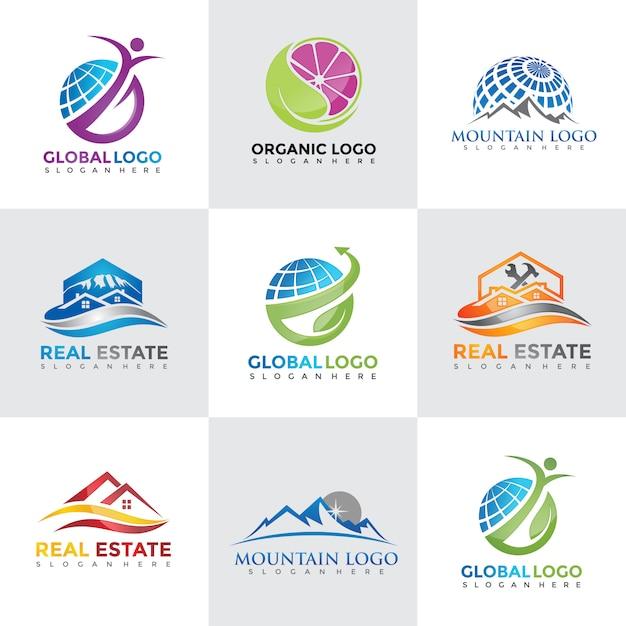 Collections de designs de logo tech Vecteur Premium