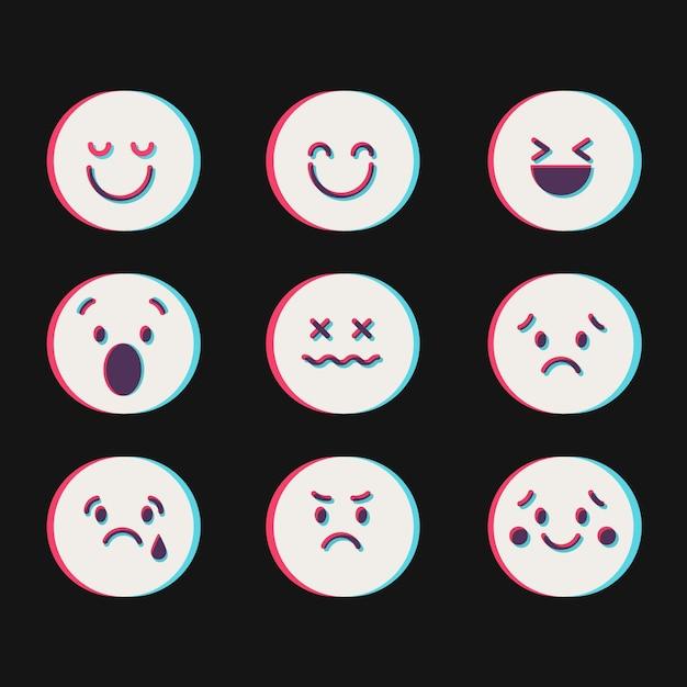 Collections D'icônes D'emojis Glitch Vecteur gratuit