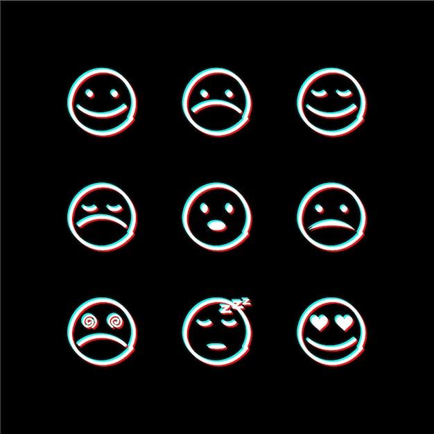 Collections D'icônes Emojis Glitch Vecteur gratuit