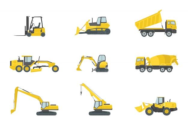 Collections de jeux de construction de camions lourds Vecteur Premium