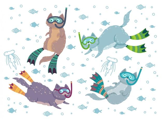 Collections de jeux mignons avec des chats nageant entourés de poissons et de méduses. chat plongeant dans des nageoires et un masque. Vecteur Premium
