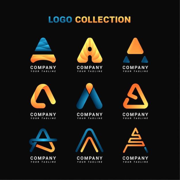Collections lettre a logo Vecteur Premium