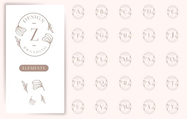 Collections De Logos De Lettres Florales Féminines Vecteur Premium