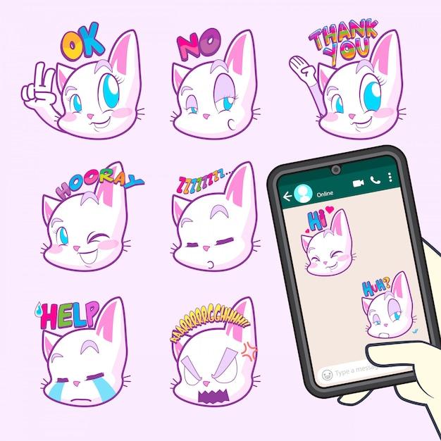 Collections de stickers emoji chat mignons Vecteur Premium