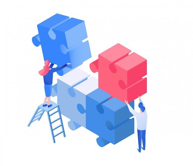 Collègues coworking, illustration isométrique de travail d'équipe Vecteur Premium