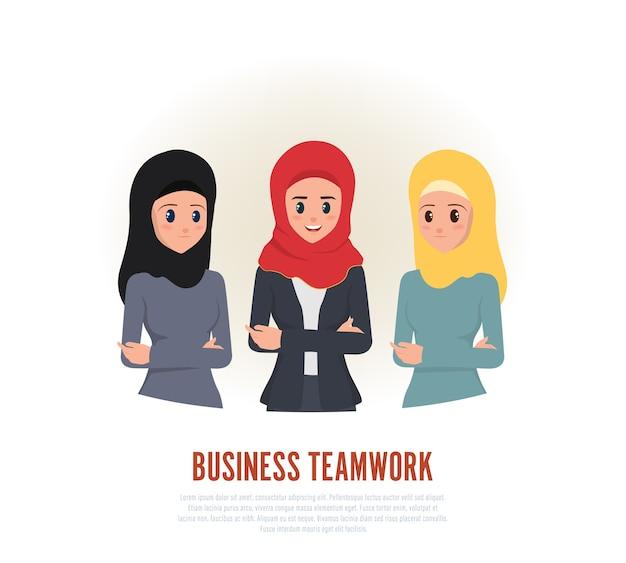Collègues de travail d'équipe femme arabe. Vecteur Premium