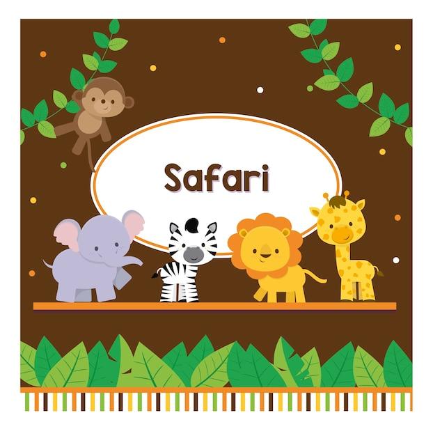 Colletion mignon safari Vecteur Premium
