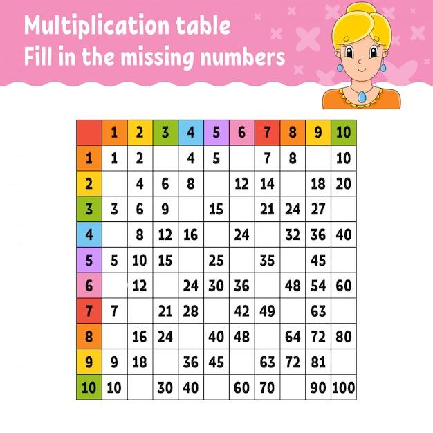 Collez Les Nombres Manquants. Table De Multiplication D'apprentissage. Pratique De L'écriture Manuscrite. Vecteur Premium