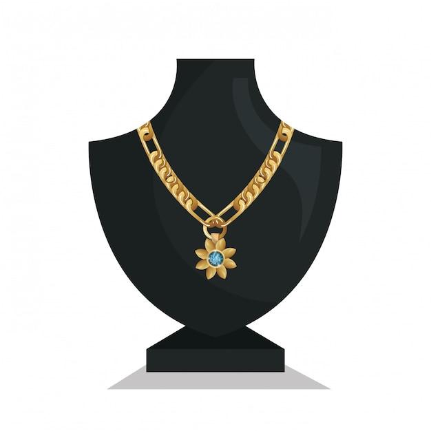 Collier de bijoux icône mannequins isolé Vecteur Premium