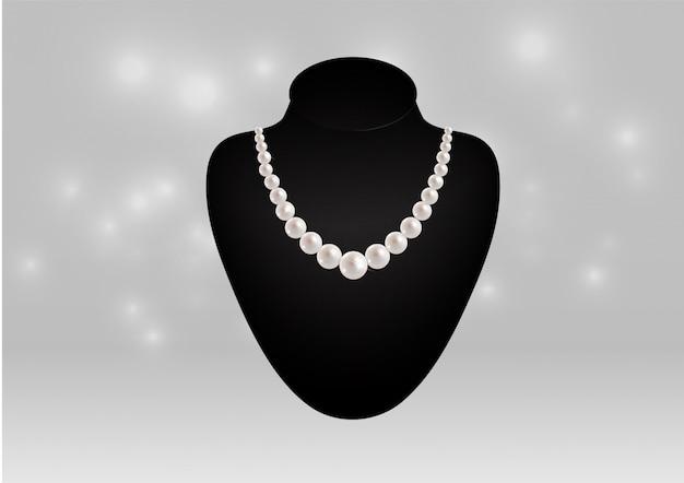 Collier de perles sur un mannequin noir Vecteur Premium
