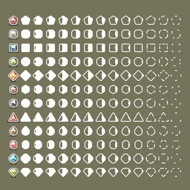 Collisions avec des pierres précieuses pour les jeux vidéo Vecteur Premium