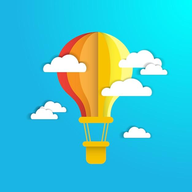 Colofrul air balloon in blue sky avec fond de nuages en papier blanc Vecteur Premium