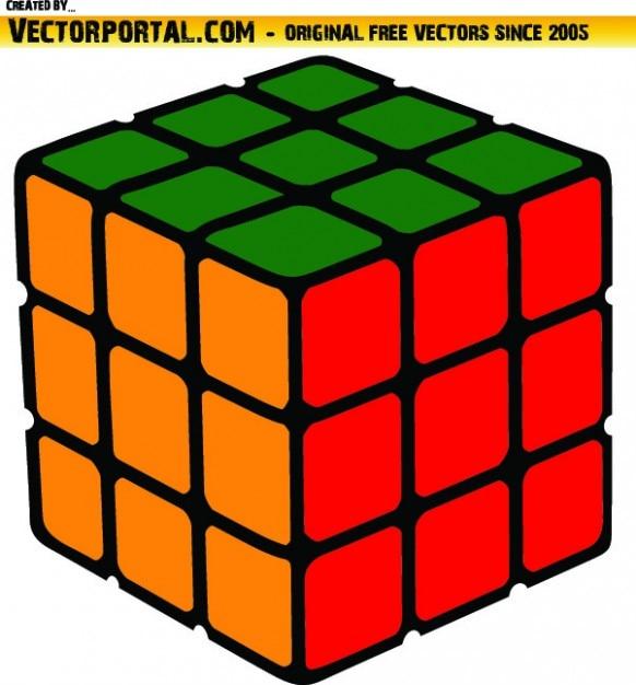 Coloful cube résolu clip art vecteur Vecteur gratuit