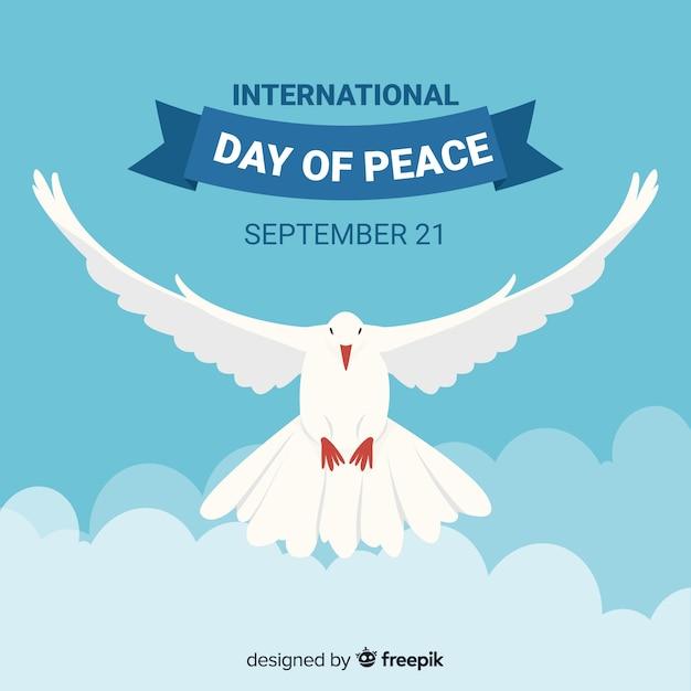 Colombe fond de la journée de la paix Vecteur gratuit
